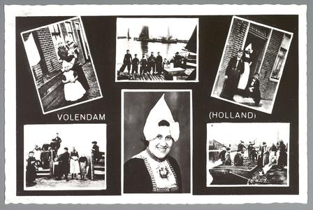 WAT001013289 Zes foto's uit de omgeving van Volendam. Afbeeldingen van vissers aan het werk, een typisch Volendams ...