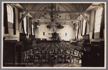 WAT002001735 Interieur van de Nederlands Hervormde Kerk in Wormer.Nederlandse Hervormde Kerk. Zaalkerk uit 1807 met ...