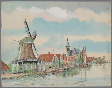 WAT003007244 Meelmolen de Witte Vlinder, bouwjaar 1693 - 1885 gesloopt, met rechts daarvan de herberg de Jonge Prins