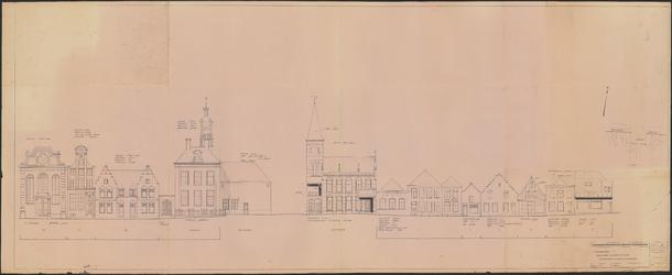 TT1_00050 Tekening van de gevelrijen Voorhaven 135 t/m 139, Damplein (Raadhuis en Postkantoor) en Keizersgracht 1 t/m 6 ...