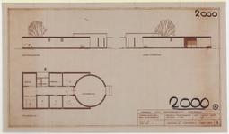 TT2_00010 Plattegrond en gevelaanzichten voor de verbouw van de aula ven het Stadsziekenhuis, in opdracht van de ...