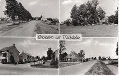 HGOM00000249 Groeten uit Middelie. Links weg van Middelie naar Edam ,rechts boerderij Piet Muts, winkel Jack Worp en ...