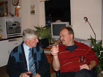 HGOM00000566 Nieuwjaarsbijeenkomst bij Piet Laan met J.P. Vink en Jack Dekker