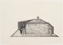 WAT001020892 Doopsgezinde kerk, zoals die was in 1696. Thans pand Cruyff in de Westersteeg. 1e steenlegging 15 sept. ...