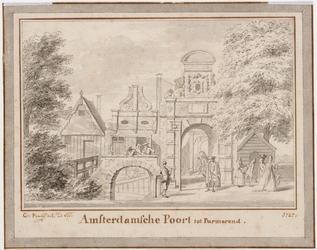WAT001020894 De Amsterdamse poort bij De Gouw met passerende mensen.