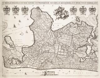 WAT001019822 Overzichtskaart van het beheersgebied van Uitwaterende Sluizen met het wapen van Uitwaterende Sluizen en ...