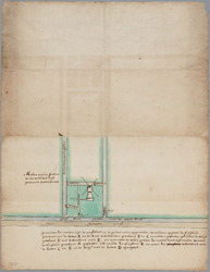 33_KA00955 Kaart met watermolen de Grotedorst in de Zijpe met aangegeven de route van het opgemalen water uit de polder R.