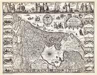 WAT001019824 Staatkundige overzichtskaart van Holland met randversiering met afbeeldingen van de Hollandse steden, ...