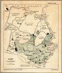 WAT001019894 Overzichtskaart van het getroffen gebied tijdens de watersnood in 1916.Het getroffen gebied staat in groen ...
