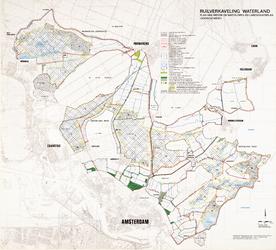 WAT001019902 Topografische kaart met ontwerp landschapsplan en plan van wegen en waterlopen in Waterland met Wormer en ...