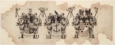 WAT001019941 Wapenblad met wapens van Dijkgraaf Mr. Dirck Alewyn en hoogheemraden Hermanus Borghorst en Mr. Elias ...