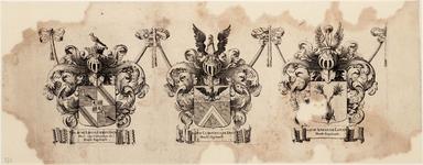 WAT001019942 Wapenblad met wapens van de hoofdingelanden Mr. Lieve Geelvinck, Dr. Ludovicus De Dieu en Mr. Abraham ...