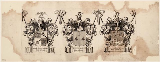 WAT001019943 Wapenblad met wapens van de hoogheemraden Jan van Loosen, Zacharias Bernard en Mr. Jan Hulft, behorend bij ...