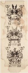 WAT001019945 Wapenblad met wapens van de stad Purmerend en de hoofdingelanden Mr. Jan van de Poll en Mr. Daniel Jean ...