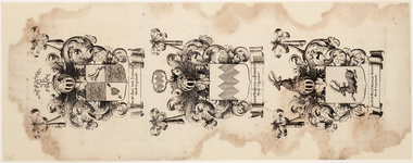 WAT001019946 Wapenblad met wapens van de hoofdingelanden Jan van loosen, Mr. Nanning van Foreest en Mr. Balthasar ...