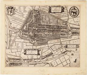 WAT001020002 Plattegrond van Edam met bebouwing en haven.