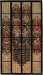 WAT001021048 tekening van een gebrandschilderd glasraam in de Grote kerk van Edam, met de wapens van prominentie ...