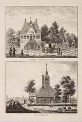 WAT001021003 Het raadhuis van Oosthuizen met passanten en koets.Het hervormde kerkje te Volendam.