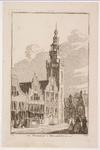 WAT001020840 Noordeinde met (winkel)huizen en publiek, Stadhuis en Speeltoren en huizen aan de Middendam.