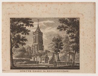 WAT001020862 De nieuwe of Broekerpoort en gezicht op de toren van de Grote Kerk.