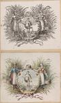 WAT001020873 Wapen van de Purmer met in een cartouche een naakte vrouw die aan het spinnen is geflankeerd door melkmeisjes.