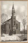WAT001021001 De Ned. hervormde kerk in de Purmer in winterlandschap.