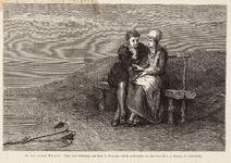 WAT001021011 Verliefd paartje zittend langs het water. Met gedicht van E. Laurillard 'Marker Vrijage'.