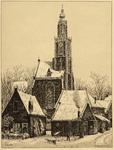 WAT001021014 De Speeltoren met huizen aan de Kleine kerkstraat en Lingerzijde in wintertijd.