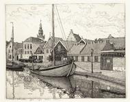 WAT001020843 Haven met boten, woonhuizen en bedrijfsgebouwen.