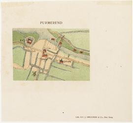 WAT001020159 Inzet-plattegrond van Purmerend; detail, zonder bebouwing van huizen.Uitgegeven in: Nederlandsche steden ...