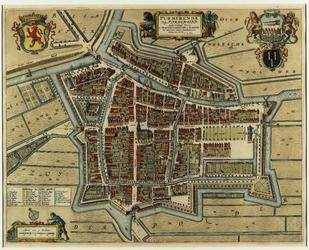 WAT001020305 Plattegrond van de stad Purmerend met bebouwing in 1650