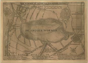 WAT001020239 Kaart met de oningepolderde Wijde Wormer en Enge Wormer in de vorm van een vogel met de Zaan als worm en ...