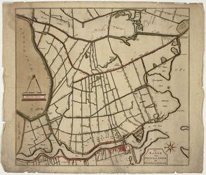 WAT001020262 Overzichtskaart van de polder Oostzaan met Oost Zaandam, de Zaan, Landsmeer, Zaandijk, 't Kalf en de ...