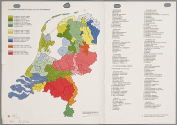 WAT001020282 Overzichtskaart van de landbouwbedrijfstypen en grondsoorten in Nederland per provincie en regio.