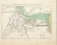 WAT001020267 kaart van de gemeente Amsterdam met situatie van de verschillende waterwegen en afwatering.