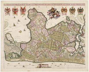 33_KA00338 Overzichtskaart van het beheersgebied van Uitwaterende Sluizen met het wapen van Uitwaterende Sluizen en ...