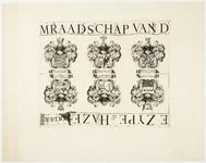 33_KA00455 Topografische kaart van de Zijpe- en Hazepolder in 6 + 3 bladen. Blad 8/9 met de familiewapens van de ...