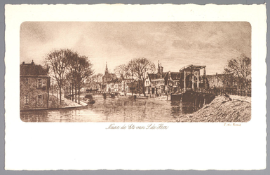 WAT001012441 Rechts de Beemsterbrug met links de BierkadeNaar een ets van Simon de Heer