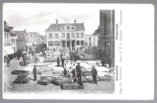 WAT001012756 Kaasmarkt te Purmerend, op een gegeven moment de twee na grootste van Nederland. Midden achter het oude ...