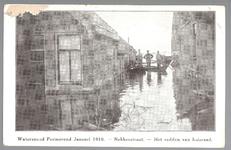 WAT001012859 Als gevolg van een zware noordwester storm brak in januari 1916 de Waterlandse Zeedijk tussen Monnickendam ...