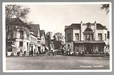 WAT001013036 Het Tramplein met links hotel-restaurant De Amsterdamsche Poort van Piet Arzbach en rechts hotel ...