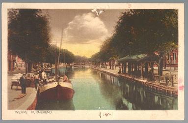 WAT001013081 Rechts de Venediën met visbank/vismarkt en links de Weerwal en in het midden achteraan de Bierstekersbrug. ...