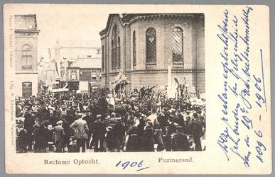 WAT001013146 Reclame optocht 1906 deze werd gehouden ter gelegenheid van de 10é Paas veetentoonstelling 1896-1906.Met ...