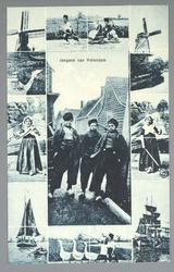 WAT001013287 Er zijn verschillende afbeeldingen te zien van Volendam van o.a. de molen, een botter en kinderen die ...