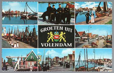 WAT001013291 Ansichtkaart met verschillende afbeeldingen van Volendam erop.