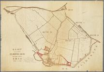 WAT001020395 Kaart van de kadastrale secties Edam, C en D (Zuidpolder met Volendam) met daarop aangegeven twee ...