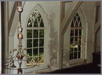 WAT001001629 Foto: interieur van de Nederlands-hervormde kerk van Kwadijk. Zaalkerk met spitsboogvensters en een houten ...