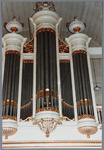 WAT001001632 Foto:orgel van de Nederlands-hervormde kerk van Kwadijk. Zaalkerk met spitsboogvensters en een houten ...