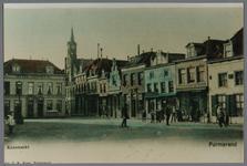 WAT001003172 Links Hotel Centraal, met spits de Lutherse kerk, iets verder een winkel van T.J.Nijsen en daarnaast een ...