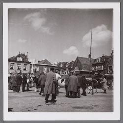 WAT001003381 Koeienmarkt te Purmerend. Op de kop van de koemarkt verhandelde men al sinds 1612 koeien, ossen, paarden, ...